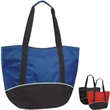 Fashion Zippered tote - Fashion zippered tote bag. 600D poly/420D nylon. Large two-tone zippered tote with white curve design. Matching two-tone handle.