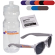 Fashion Sunglasses & Lens Cleaner in a Sports Bottle - Fashion sunglasses and a moist lens cleaner towelette in a squeeze sports bottle.