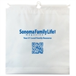 Cotton Drawcord Handle Bags - 2.5 mil. low density white plastic bags with cotton pull drawstring handle and bottom gusset.