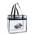 Clear Stadium Tote - This clear stadium tote is a true winner. Made with clear vinyl, it features a zipper top and contrasting black handles.