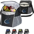 """Formula One Cooler - 11"""" x 10 1/2"""" x 7"""" cooler made of 600 denier black polyester with dual-zipper main compartment"""