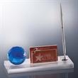 Blue Globe Desk Set - Beautiful glass desk accessory set