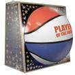 "Full Size Rubber Basketball - Red, White, Blue - Extra durable full size rubber basketball - red, white, blue, 29.5""."