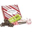 Holiday Heaven Box - Holiday Heaven Box with mints, peppermint bark and taffy, and dark chocolate mini pretzels.