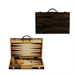 Black Zebra Wood Backgammon Set 15 in. - Backgammon set crafted from black zebra wood.
