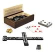 10-in-1 Combination Set - Dominoes and More! - Ten in one combination game set with dominoes, cribbage, dice and card gems.
