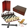 7-Games-in-1 Combination Game Set - Combination game set with chess, checkers, backgammon, cribbage, dominoes, dice.
