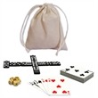Dominoes and More Travel Game Pack - 12 Games in 1 - Travel game with five dice, a set of double 6 dominoes and a deck of cards.