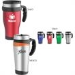 16 oz. Stainless Travel Mug - 16 oz. stainless steel travel mug with plastic liner, double wall insulation.