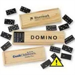 """Dominos - Plastic Dominos. Comes in wooden case. Instructions included. Case size: 5 3/4"""" x 2""""."""