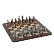 Egyptian Chess Set w/Pewter Pieces & Walnut Root Board-16 in - Egyptian pewter chess and checker set and wooden chessboard with storage drawers.