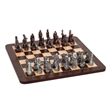 "Fantasy Chess Set w/Pewter Pieces & Walnut Root Board -16 in - Fantasy pewter chess and checkers set & 16"" walnut root chessboard. Rounded corners."