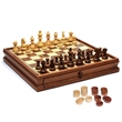 French Staunton Chess & Checkers Set-Weighted Pieces,15 in. - Camphor chess / checkers set.