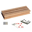 Cabinet Cribbage Set-Solid Oak Wood with Inlay Sprint - Three track with inlay, storage for 2 decks of card.