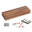 Cabinet Cribbage Set - Solid Walnut Wood with Inlay Sprint - 3 track walnut with cards and storage.