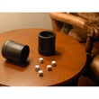 Mahogany Leather Professional Dice Cup with Rubber Lining - Mahogany leather dice cup with 5 dice.