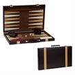 "15"" STAUNTON WOODEN CHESS SET - 15"" brown leatherette backgammon with tan color pen strip."