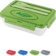 "Pack-N-Go Lunch Box - 5 1/2"" x 8 3/4"" x 2 1/2"" polypropylene lunch box with snap-tight lid and frosted base; includes knife and fork."