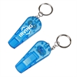 Whistle Flashlight - 3-in-1 multi-functional promotional product. Includes a whistle with a flashlight function and keychain attachment