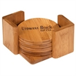 Bamboo 6pc Coaster Set with Holder - 6-piece engravable coaster set with holder, made from bamboo.