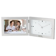"""Antimo Clock & Photo Frame - 1.62"""" x 4.88"""" x 6.88"""" Antimo clock and photo frame with brushed aluminum finish; includes 6"""" x 4"""" photo frame and analog clock."""