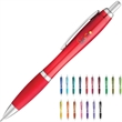 Translucent Curvaceous Ballpoint Pen - Ballpoint pen with translucent barrel and color rubberized comfort grip.