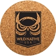 """Round Cork Coaster - Durable, absorbent coasters protect tabletops and desktops from cup rings. Constructed from 1/8"""" thick natural cork material."""