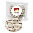 White Chocolate Dipped Pretzel - Individually labeled white chocolate covered jumbo pretzel