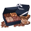 Navy Magnetic Closure Keepsake Box - navy magnetic closure gift box filled with chocolates and nuts