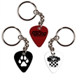 PVC Guitar Pick Key Ring with Chain - Guitar Pick Key Chain with single color imprint.