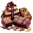 Burgundy & Gold Tower of Favorites - Burgundy and gold tower filled with nuts and chocolates