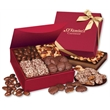Red Magnetic Closure Keepsake Box - red magnetic closure gift box filled with chocolates and nuts