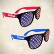 American Flag Neon Red Billboard Sunglasses - Neon red plastic billboard sunglasses with patriotic American flag design on lenses.
