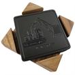 Set of 6 Euro Leather Coasters - Set of 6 Euro Leather Coasters in an oak holder.