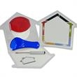 Brand Building House Kit Promotional Package - House Shaped clam shell with customizable insert card.  Contains Worlds Best Pizza Cutter, magnet, measuring spoon and Screwdriver