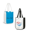 Recycled Fashion Tote Bag w /snap 8.5 - Combination of extra strong 110 GSM non-woven polypropylene material with gloss lamination