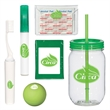 Travel Comfort Kit - Mason Jar, tissue packet, toothbrush, first aid pouch, hand sanitizer and lip moisturizer ball.