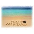 Feliz Navidad Holiday Card - Holiday card with Feliz Navidad written in the sand on a beach.