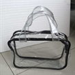 Clear Vinyl Cosmetic Tote Bag  Purse with Handle - Top zipper closure, clear outside pocket with a burly handle.It is perfect for carrying toiletry items or makeup or little things.