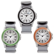 Unisex Sport Watch Unisex Sport Watch - Unisex sport watch featuring a 42mm matte silver metal case, bright colored bezel, and nylon straps.
