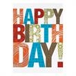 """Patterned Wishes Happy Birthday Card - Different patterned letters spell out your wish for a """"Happy Birthday"""" on the front of this Birthday Card."""