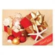 Gift of Sea Shells Holiday Card - Holiday card adorned with a present overflowing with sea shells on a sandy beach