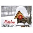 Countryside Greetings Holiday Card - A rural birdhouse wishes the happiest of holiday greetings on this holiday card