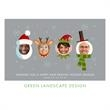 Funny Faces on Photo Card in Gray - Holiday card with facial photos inserted into humorous holiday characters