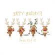 "Cheery Reindeer From All of Us Holiday Card - On this Holiday Card, These playful and cheerful reindeer wish ""Happy Holidays! From All of Us!"" in gold foil."