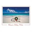 "Adirondack Chairs Tropical Beach Holiday Card - On this Holiday Card, These Adirondack chairs with a wreath between sit on the beach while a sentiment of ""Warmest Holiday Wishes"""