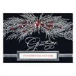"""Spectacular Silver Spray Die Cut Holiday Card - Holiday Card has a silver spray accented w/red berries & """"Greetings"""" w/a die-cut framed with silver foil on a background of black"""