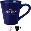 12 oz. White Funnel Shaped Mug - 12 oz. white funnel shaped mugs. Dimensions: 3.5 in (Top Diameter); 2.3125 in (Bottom Diameter); 4 in (Height).