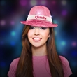 Pink Sequin LED Fedora-Imprintable Bands Available  - Pink sequin LED Light Up Costume fedora, Please call for pricing and details on imprintable bands