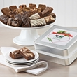 Custom Christmas Keepsake Tin Sprite 24 - 24 snack-size brownies are tucked inside a decorative Christmas tin with your logo on the lid.